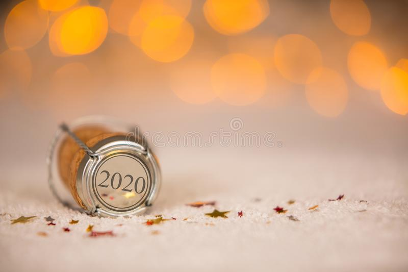 Happy New Year 2020 with Cork on the Snow. New year concepts stock photography