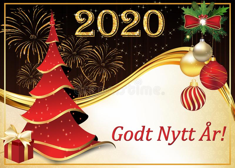 Happy New Year - corporate greeting card in Norwegian. Happy New Year -  Norwegian greeting card designed for the 2020 New Year`s celebration stock illustration
