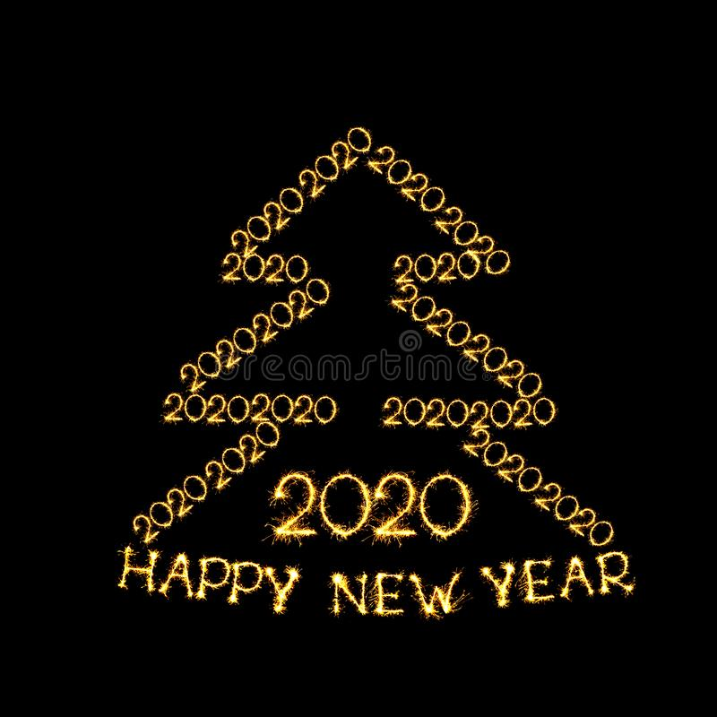 Beautiful template for design for New Year 2020. Happy New Year 2020. Creative Collage Christmas tree is made of number 2, 0 and text Happy New Year 2020 stock illustration