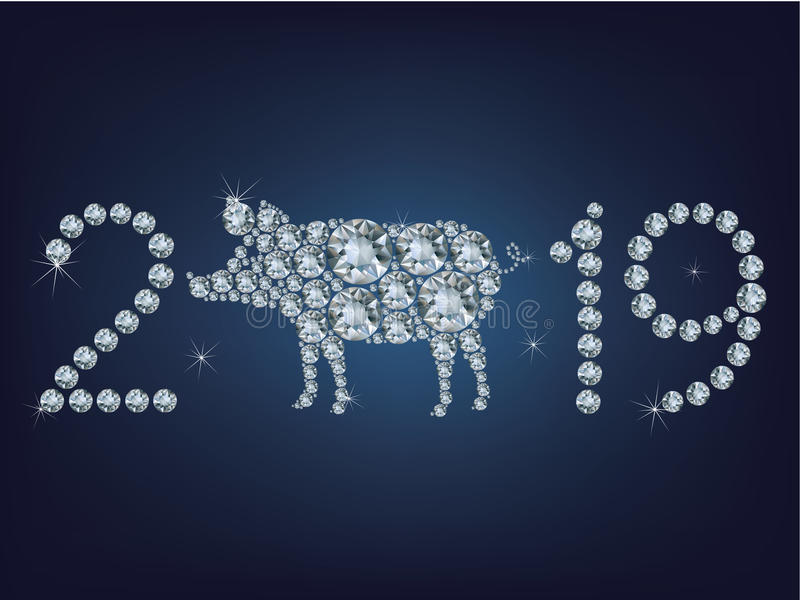 Happy new year 2019 creative greeting card with Pig made up a lot of diamonds stock illustration