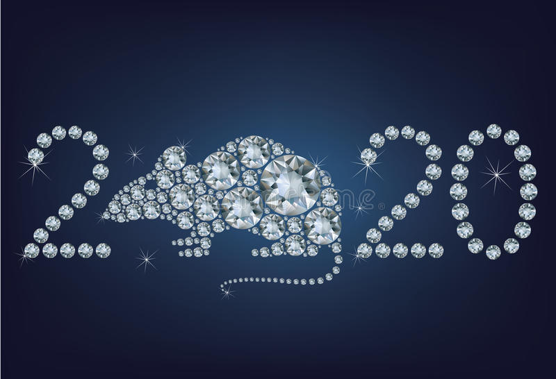 Happy new year 2020 creative greeting card with Rat made up a lot of diamonds royalty free illustration