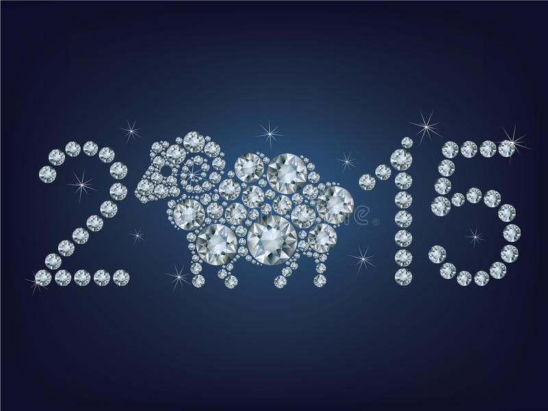Happy new year 2015 creative greeting card with sheep vector illustration