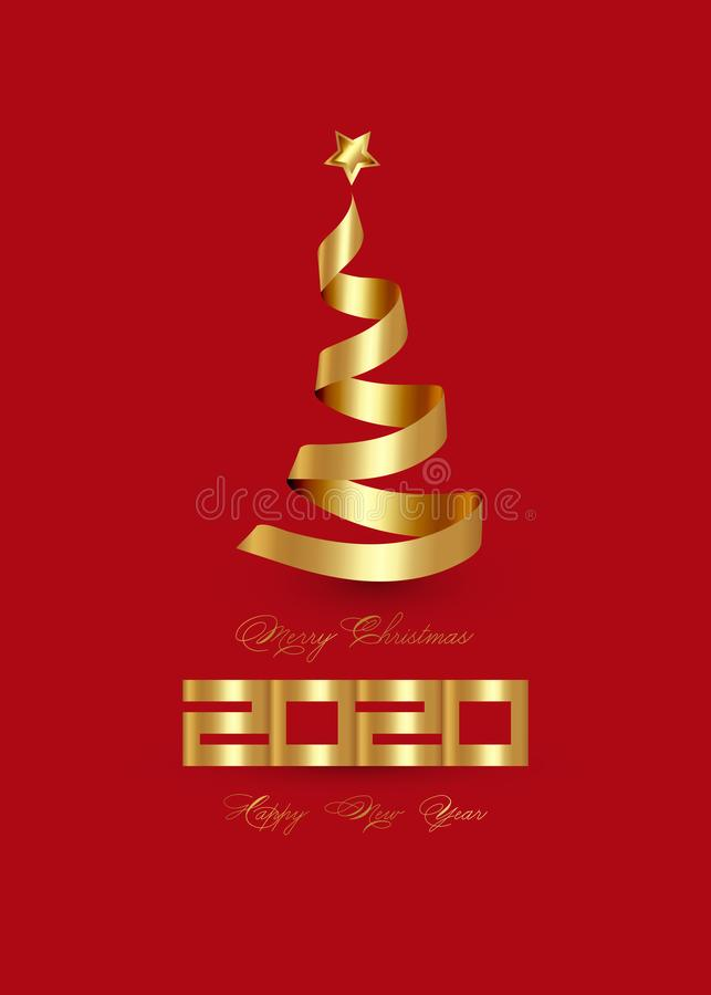 2020 Happy New Year and Creative Xmas tree made by 3D gold ribbon and golden star, elegant luxury vector isolated, red background stock illustration