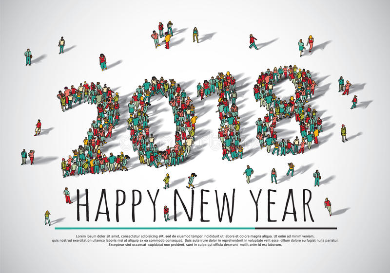 2018 happy new year crowd big group people. royalty free illustration