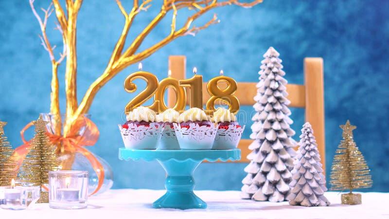 Happy New Year 2018 cupcakes royalty free stock photo