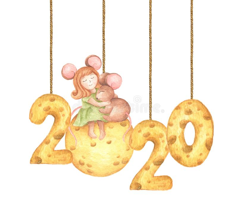 Happy New Year. Cute girl mouse hug a little mouse sitting on the cheese moon and cheese calendar hang from string painted in stock illustration