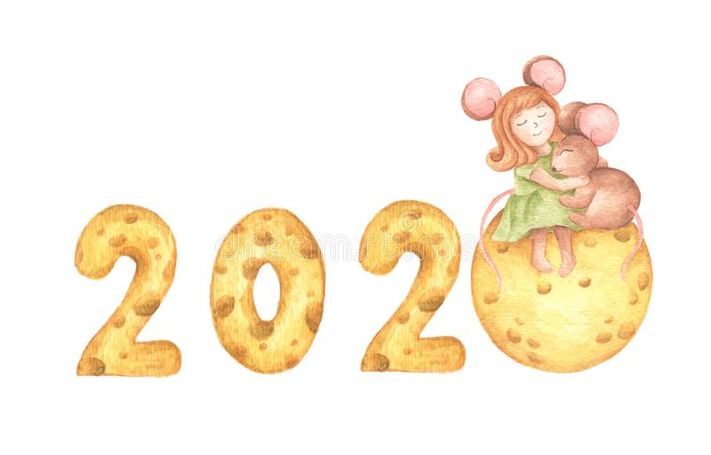 Happy New Year. Cute girl mouse hug a little mouse sitting on the cheese moon and cheese calendar. Watercolor illustration stock illustration