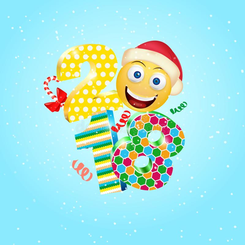 Happy New Year 2018 with a cute smile emoji face with a Santa Claus hat. 3d Smiley Emoji modern design for social networks, the co stock illustration