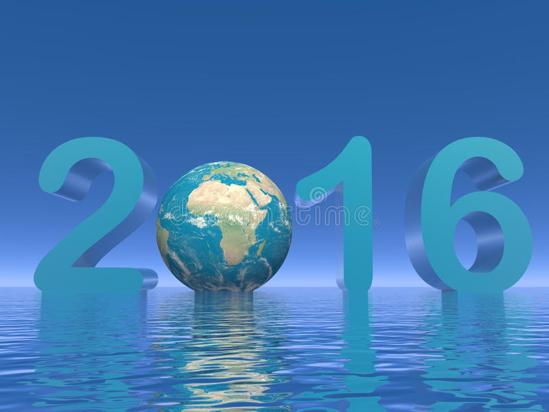 Happy new year 2016 - 3D render royalty free illustration