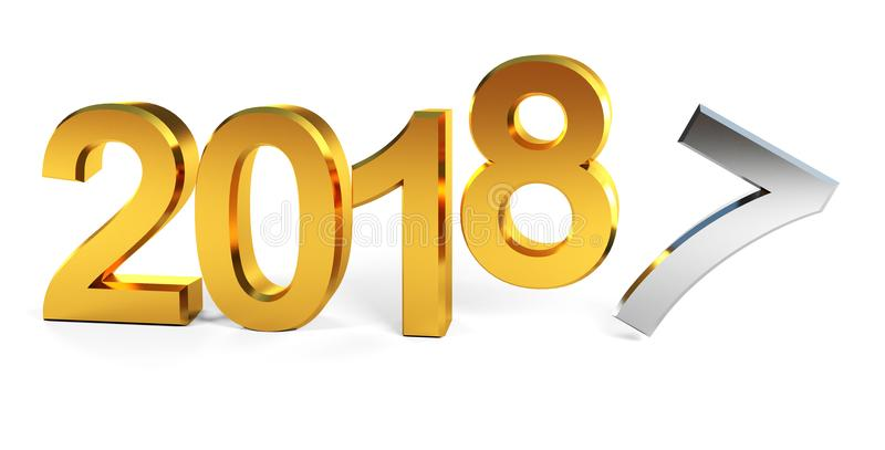 2018 happy new year 3d render stock photo