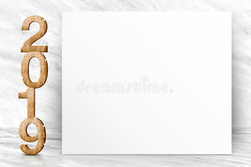 Happy new year 2019 3d rendering with blank white poster greeting card in perspective white marble studio room,leave space for di stock photos