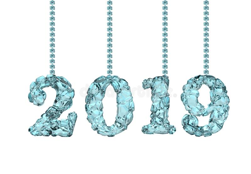 Happy new year 2019, 3D rendering stock photo