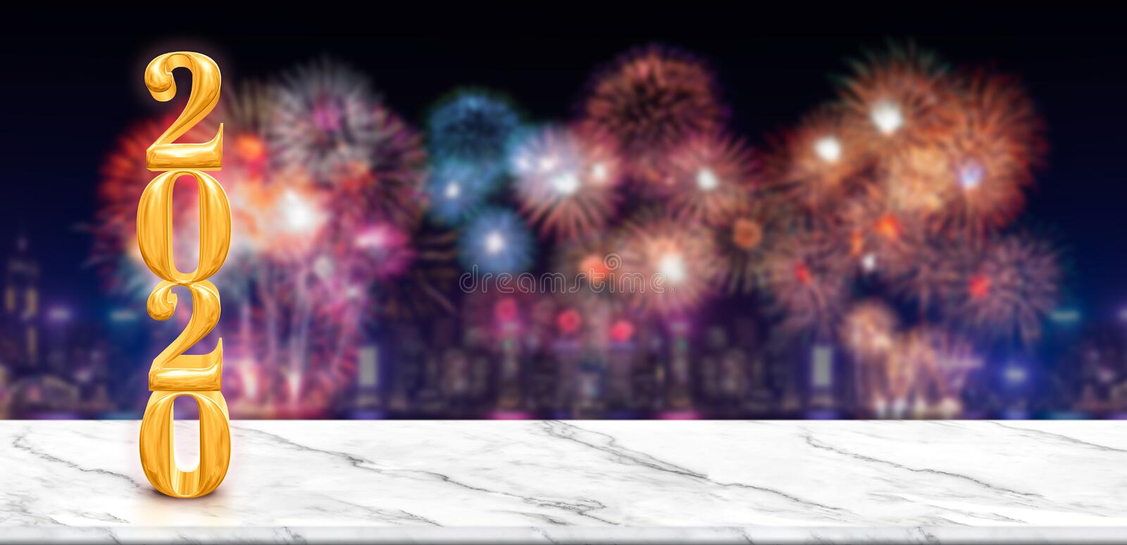 Happy new year 2020 3d rendering fireworks over cityscape at night with empty white marble table,Banner mock up template for stock illustration