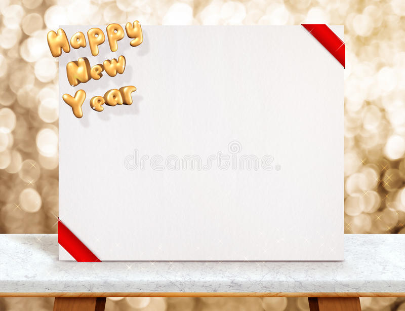 Happy new year 3d rendering on white poster with red ribbon on. Marble table at gold sparkling bokeh background,Leave space for display or montage of your royalty free stock photography