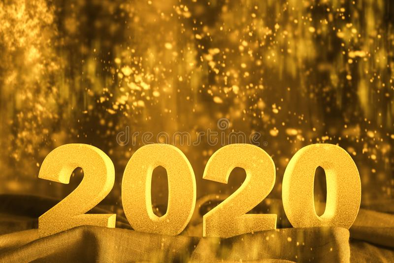 Happy New year 2020 3D-tekst met glitter gouden gele kleur royalty-vrije stock foto's