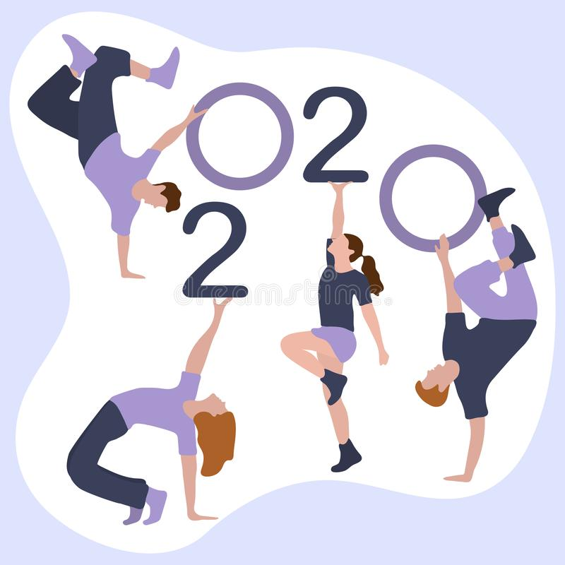 Happy new year. Dancing people keep numbers 2020 royalty free illustration