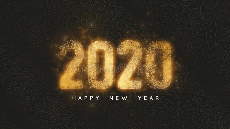 Happy New Year 2020. Dark background with gold net and glowing golden 2020 numbers as veins of gold foil and sparkles. Vector Illustration for luxury holiday royalty free illustration