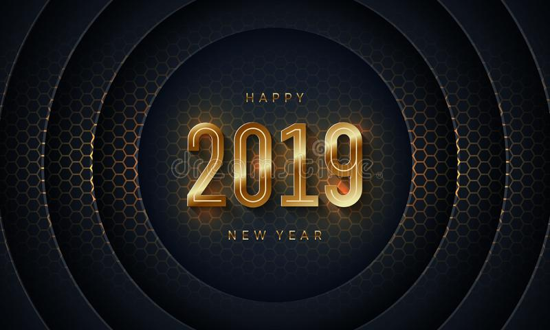 2019 Happy new year with Dark circle paper cut background. Abstract modern 3D texture vector background royalty free illustration