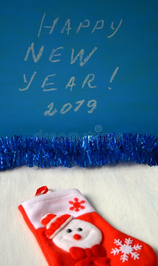 Happy New Year 2019 text blue background stock photography