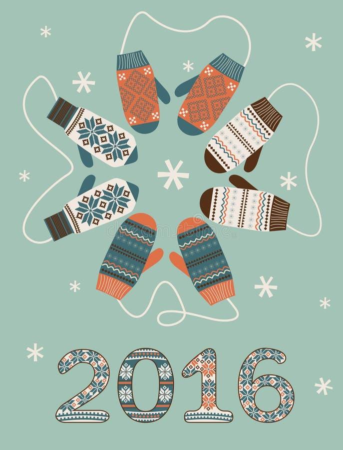 Happy new year 2016 decoration stock illustration