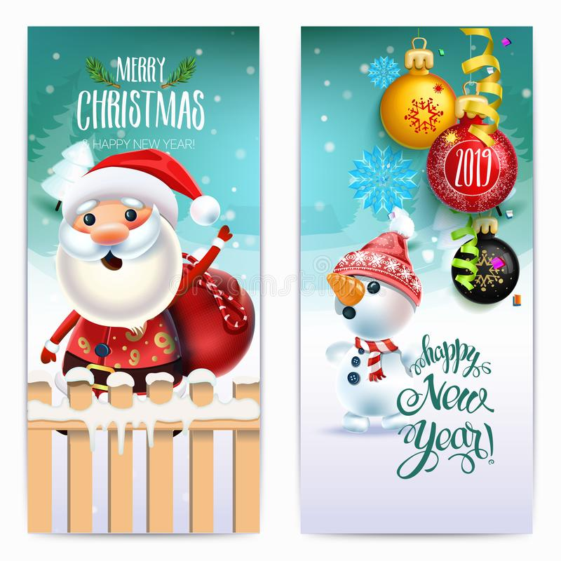 2019 Happy New Year decoration of a poster card and a merry Christmas holiday background with garlands, tree branches, snowflakes royalty free illustration