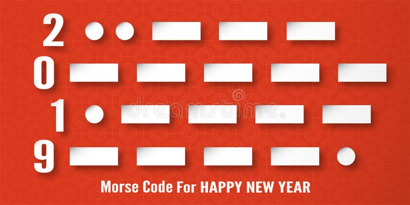 Happy New Year 2019 decoration on red background. Vector illustration with calligraphy design of Morse code number in paper cut. And digital craft royalty free stock image