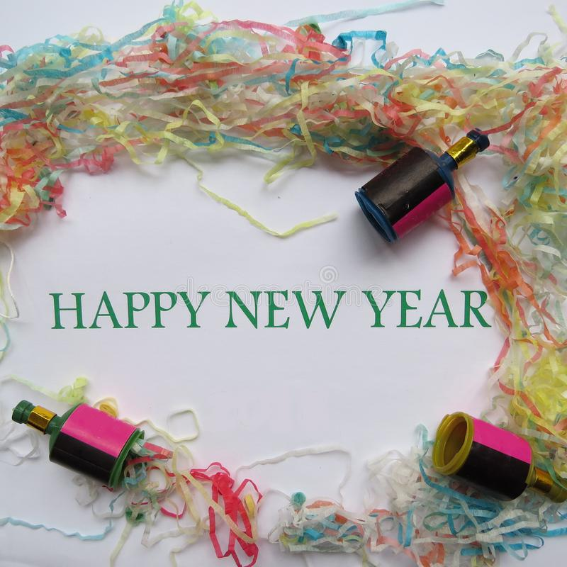 Happy New Year. And decorations background stock photos