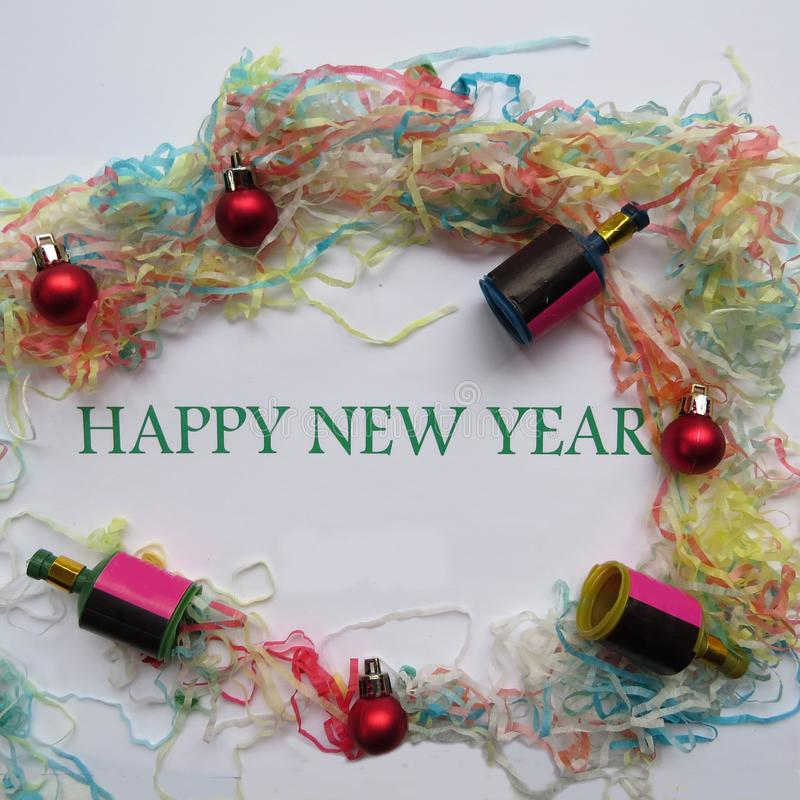 Happy New Year. And decorations background stock photography
