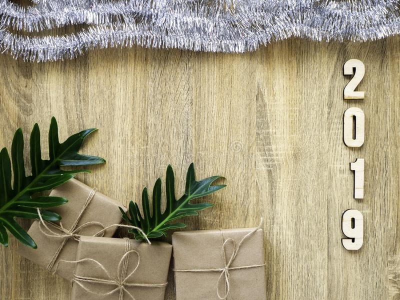 Happy new year 2019 decorative with gift box on wooden royalty free stock photography