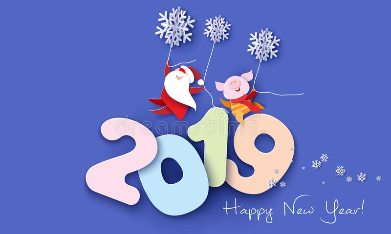 2019 Happy New Year design card with Santa and pig stock illustration