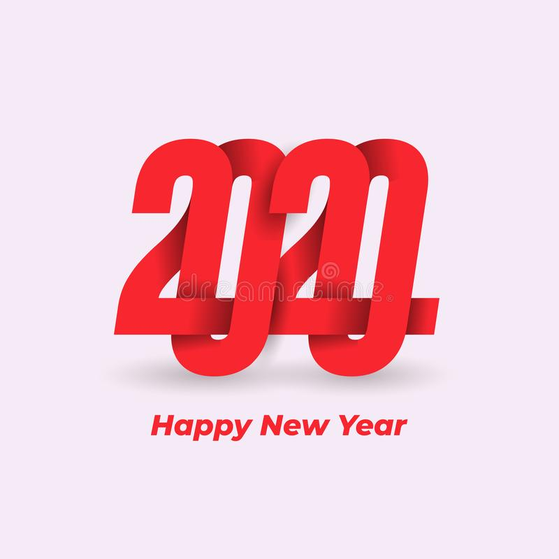 Happy New Year 2020 Design logo Pattern. Celebration text graphics. Cover of business diary for with wishes. Brochure design stock illustration
