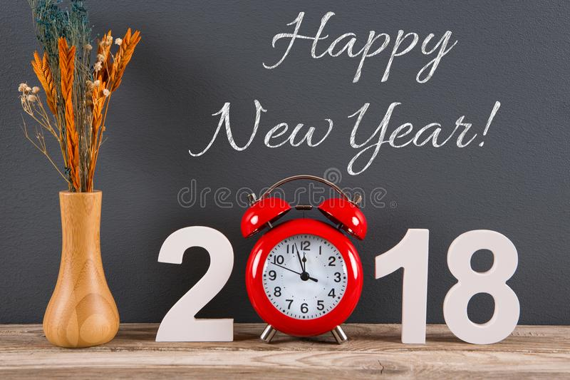 Happy New Year 2018 on desk royalty free stock photos