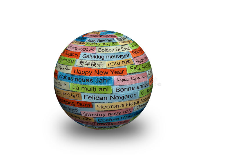 Happy New Year on different languages 3d ball stock photo