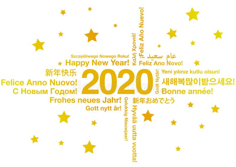 Happy New Year 2020 in different languages vector illustration