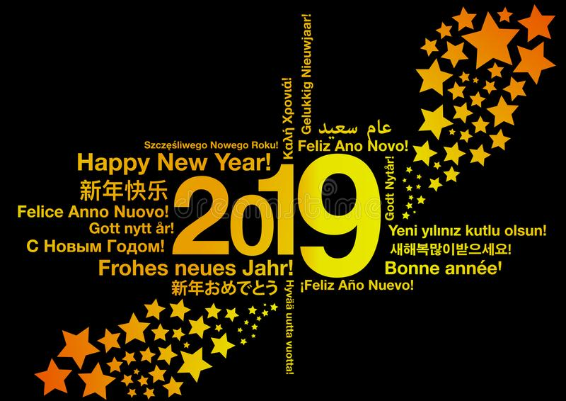 Happy New Year 2019 in different languages royalty free illustration