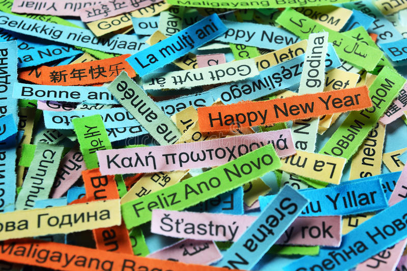 Happy New Year on different languages stock image