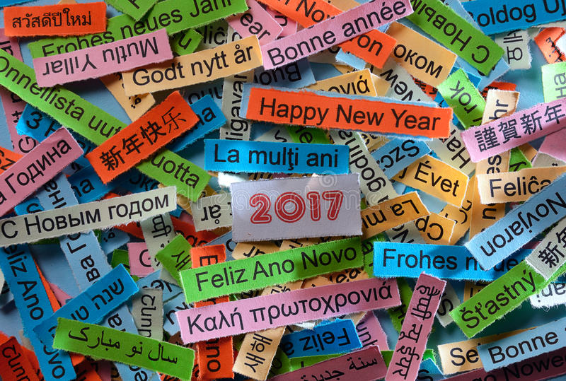 Happy New Year on different languages stock photos