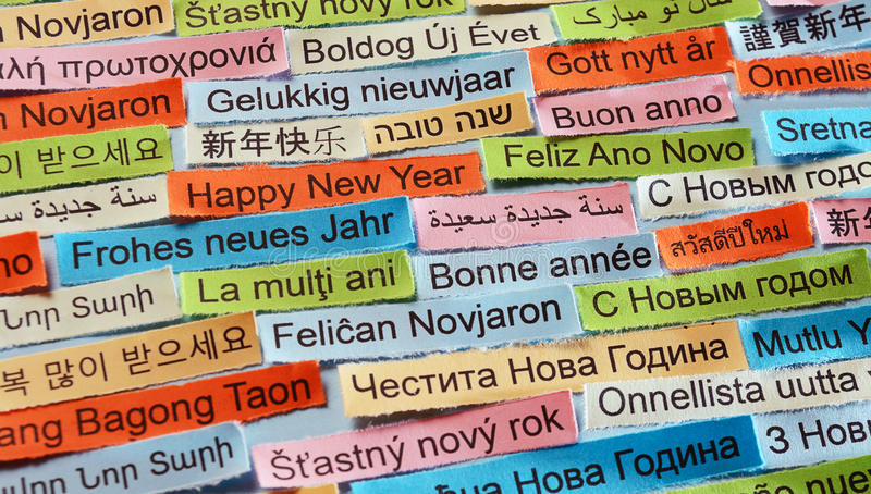 Happy New Year on different languages royalty free stock image