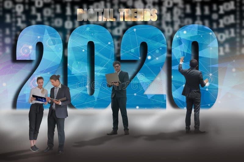 Happy New Year 2020 Digital Trend Concept, Geschäftsleute und Teammitglieder gemischten Ethnicity Descent, Technologie und Ziele  stockbilder