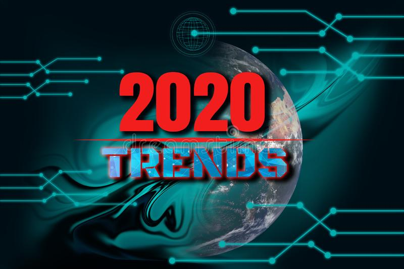 Happy New Year 2020 Digital Trend Concept,illustration futuristic blue and black modern with liquid flow background,technology. Line and dot,with light royalty free stock image