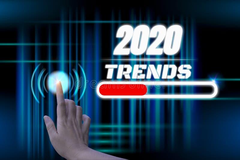 Happy new year 2020 digital trends concept, mit hand touch futuristic button hologram, mit abstrakter line illuminate verbindung, stockfotografie