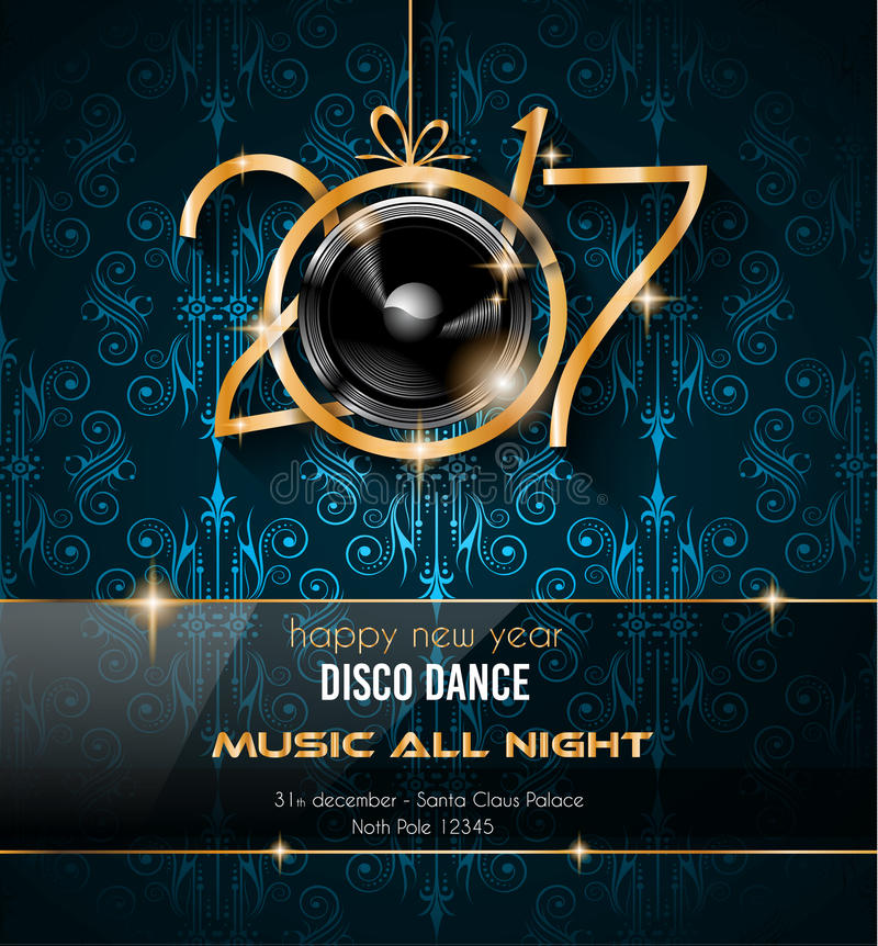 2017 Happy New Year Disco Party Background for your Flyers stock illustration