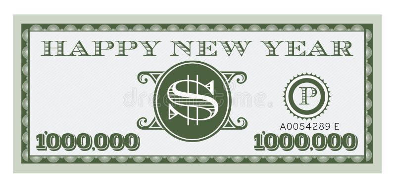 Happy New Year Dollar Bill Vector Design royalty free illustration