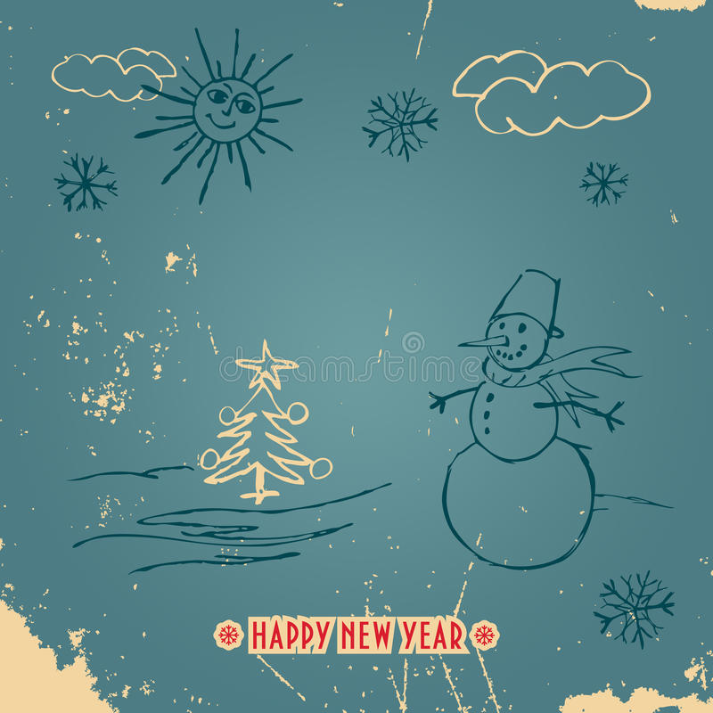 Happy New Year doodle vintage card vector illustration