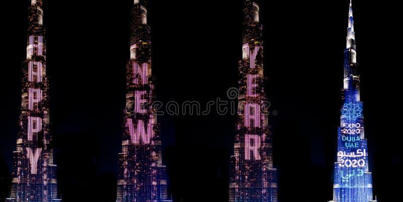 Happy new Year, Dubai Expo 2020  Burj Khalifa illuminated Expo Dubai 2020, Dubai, UAE stock photo