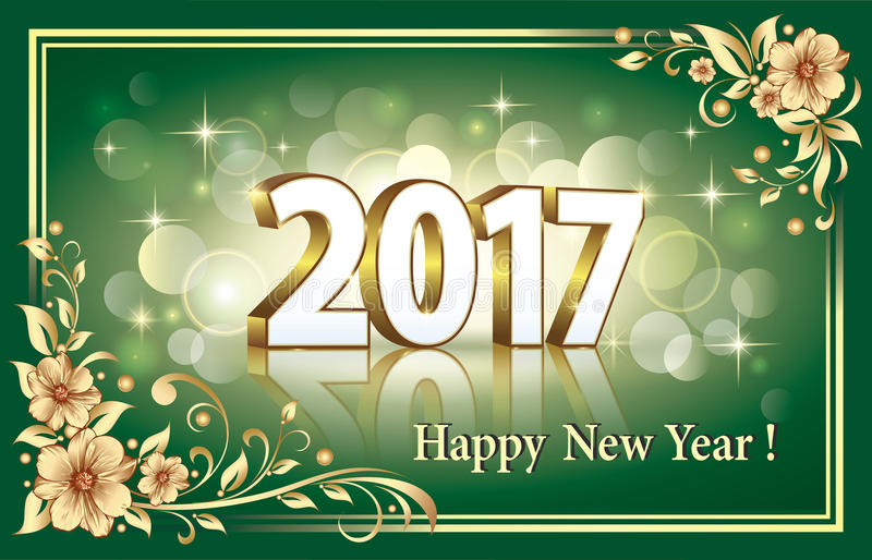 Download Happy New Year 2017 On The Emerald Background Stock Vector