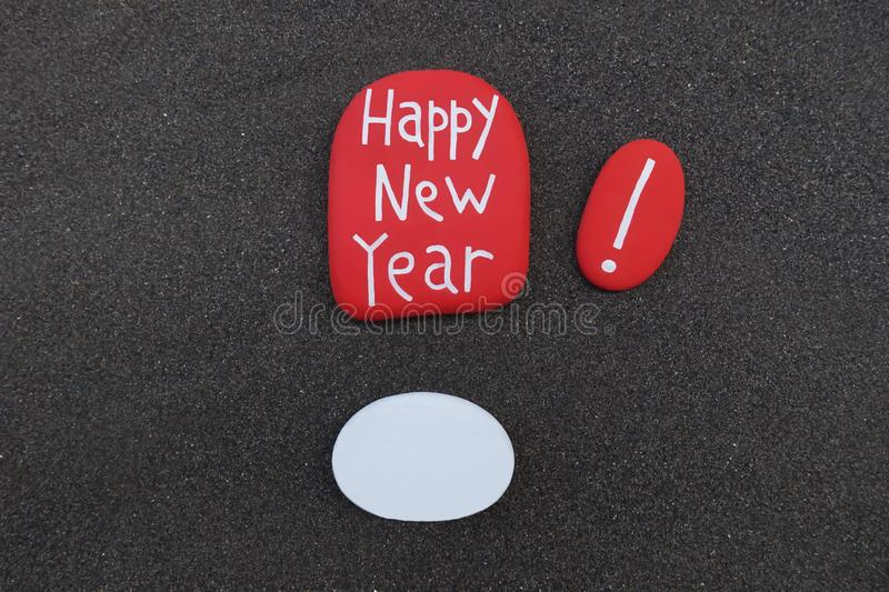 Happy New Year with an empty white stone for a future postcard stock images