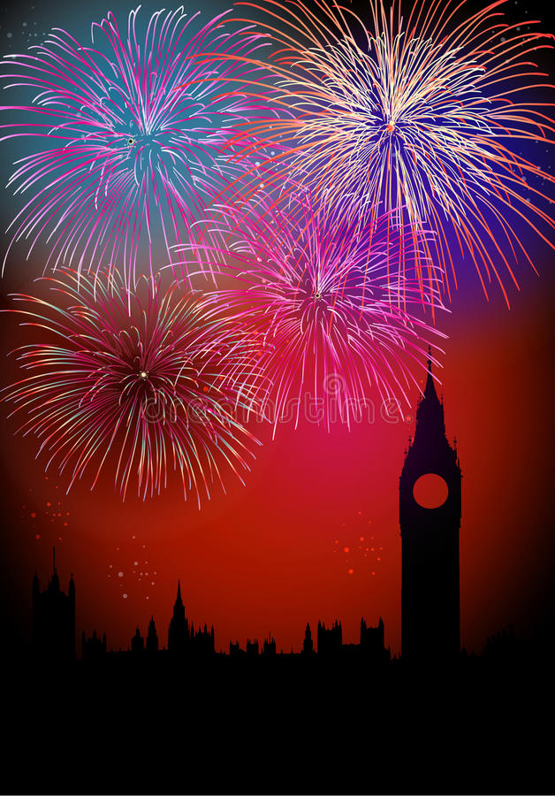 Free Happy New Year Englsih Fireworks Royalty Free Stock Photography - 28109387