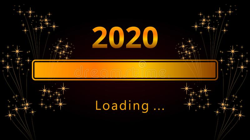 2020 Happy New Year eve bright golden loading progress bar with fireworks isolated on black background. stock illustration