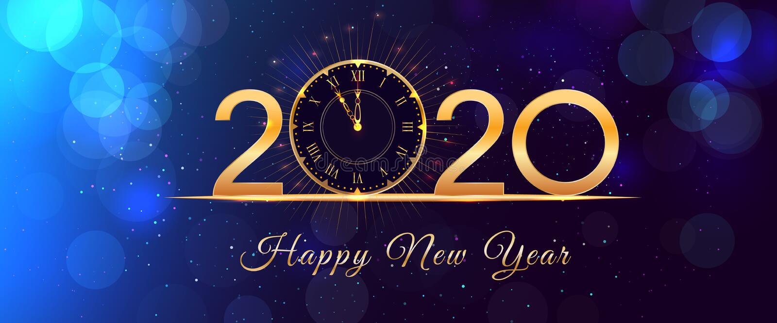 Glowing Clock With Greetings For New Year Over Colorful